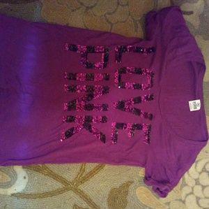 Purple VS Pink SS tee w /purple sequins~ size medi